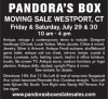 MOVING SALE WESTPORT, CT PANDORA'S BOX