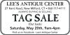 LEE'S ANTIQUE CENTER Tag Sale