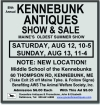 89th Annual KENNEBUNK ANTIQUES SHOW & SALE