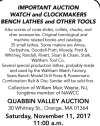 Quabbin Valley Auction WATCH and CLOCKMAKERS