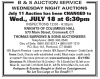 B&S AUCTION SERVICE WEDNESDAY NIGHT AUCTIONS