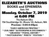 Elizabeth's Auctions Books And Ephemera