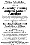 William A. Smith A Tuesday Evening Autumn Kickoff Auction
