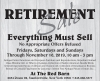 RETIREMENT Sale Everything Must Sell At The Red Barn