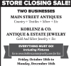 Main Street Antiques & Koblenz & Co Closing Sales