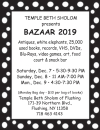 TEMPLE BETH SHOLOM Presents BAZAAR 2019