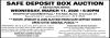 Safe Deposit Box Auction By B&S Auction Service