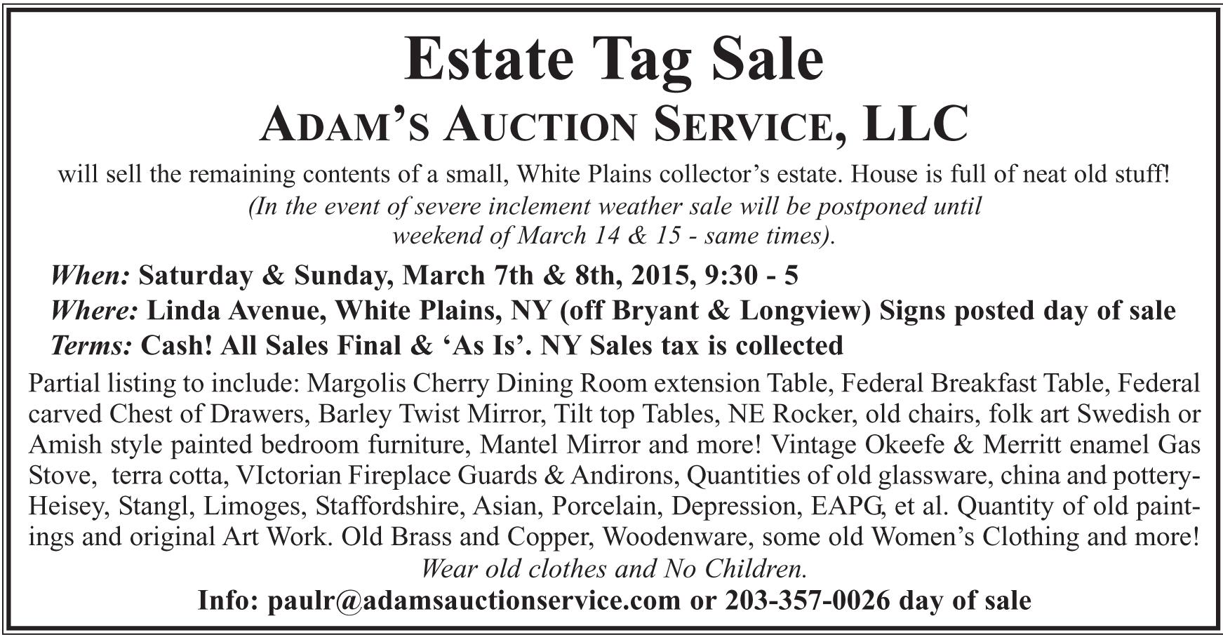 White Plains, NY Estate Tag Sale by ADAM'S AUCTION SERVICE, LLC