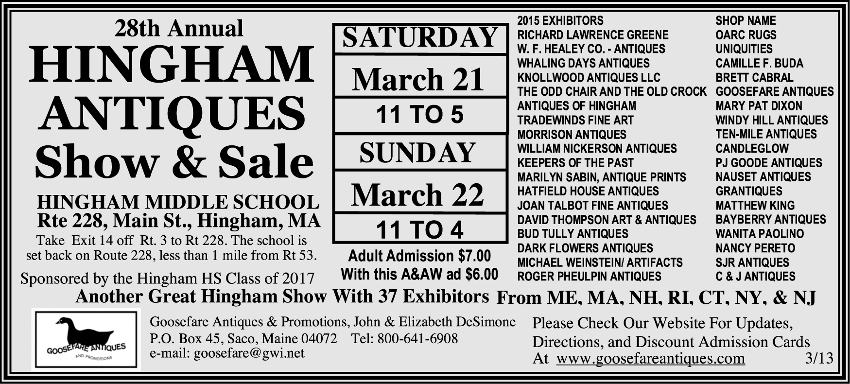28th Hingham Antiques Show and Sale