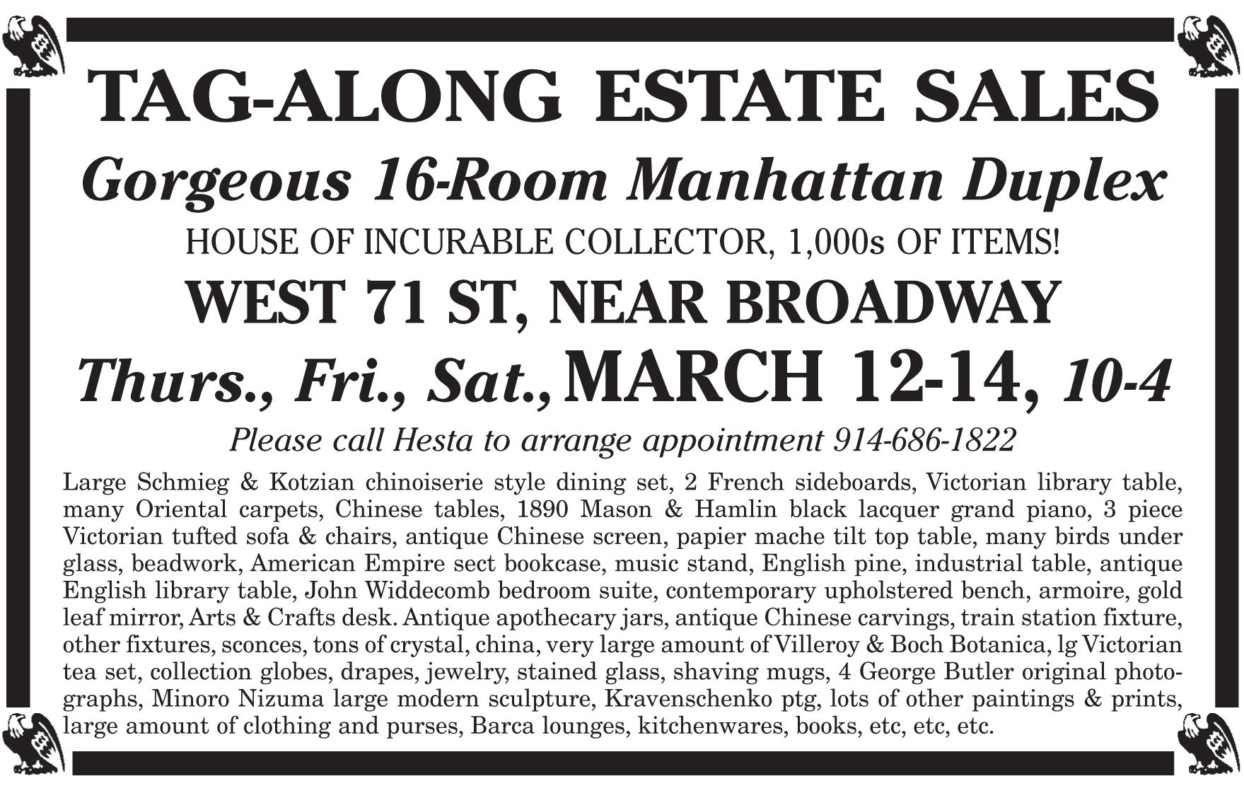 New York City Estate Sale by TAG-ALONG ESTATE SALES