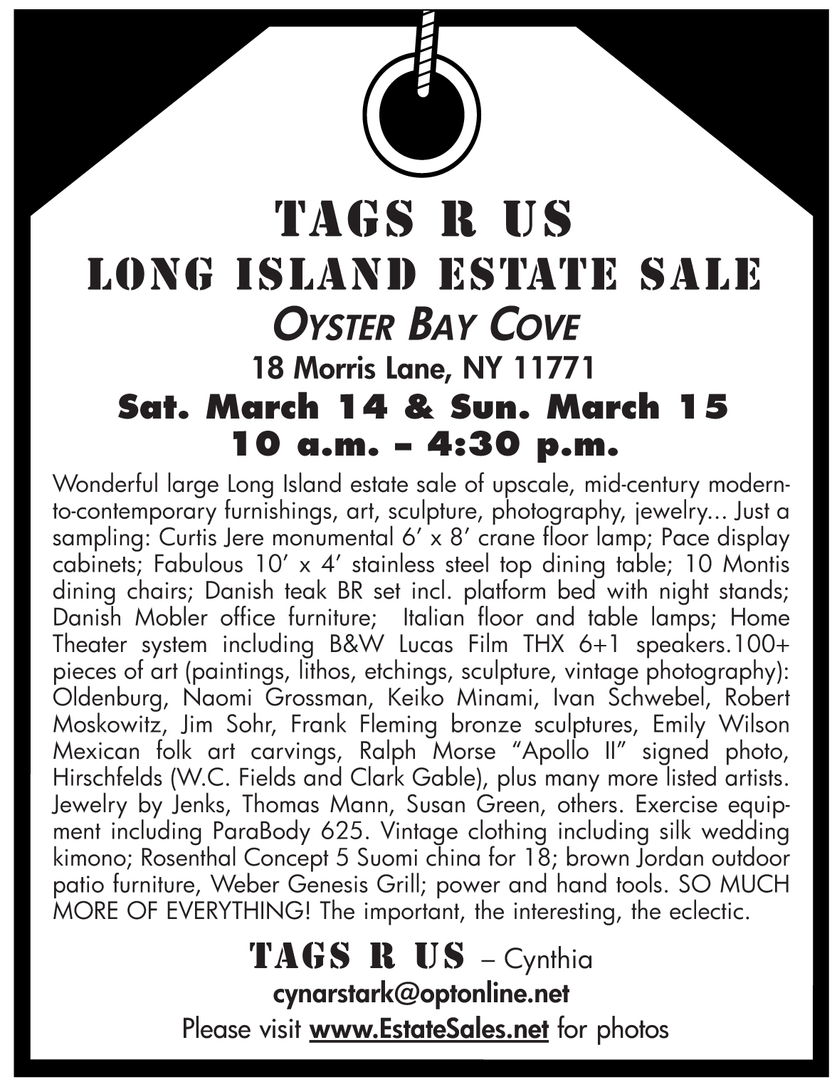 Oyster Bay LONG ISLAND ESTATE SALE by Tags R Us