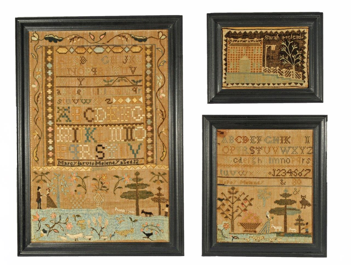 Three samplers by the Melendy sisters of Haverhill, Mass., circa 1799, were a rarity at Stephen & Carol Huber, Old Saybrook, Conn. Worked by Sarah Melendy, the sampler at top right is especially unusual in that it depicts a house with a tavern sign.