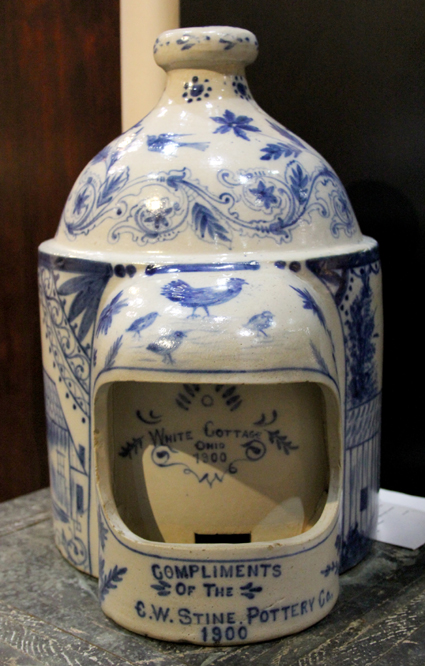 Pennsylvania dealer Greg Kramer said this cobalt decorated stoneware vessel inscribed C.W. Stine Pottery Co., 1900, is a chicken waterer. The piece is fresh to the market and unrecorded.