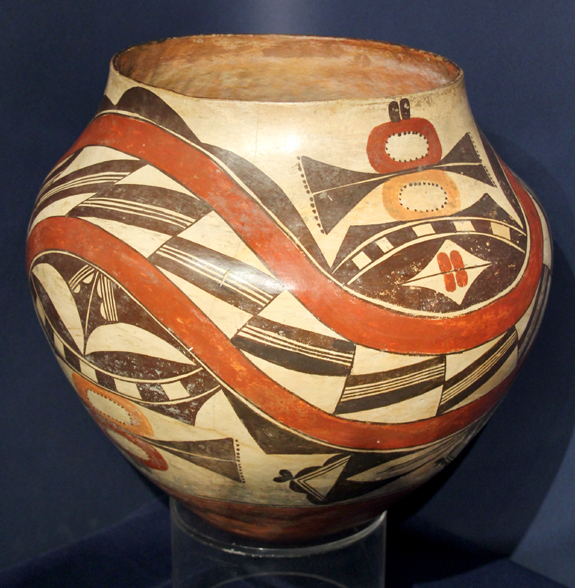 An Acoma/Laguna four-color jar with geometric and floral designs, circa 1880–90, at Marcy Burns American Indian Arts, New York City.