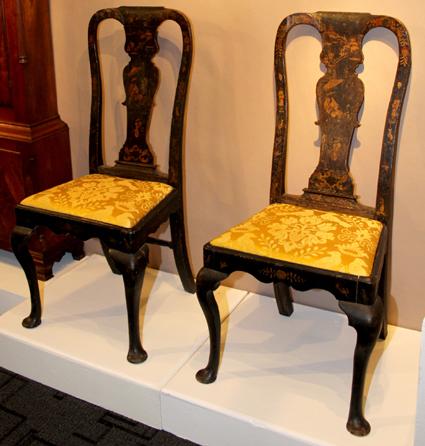 Delaware dealer James M. Kilvington sold this untouched pair of George I lacquered chairs.