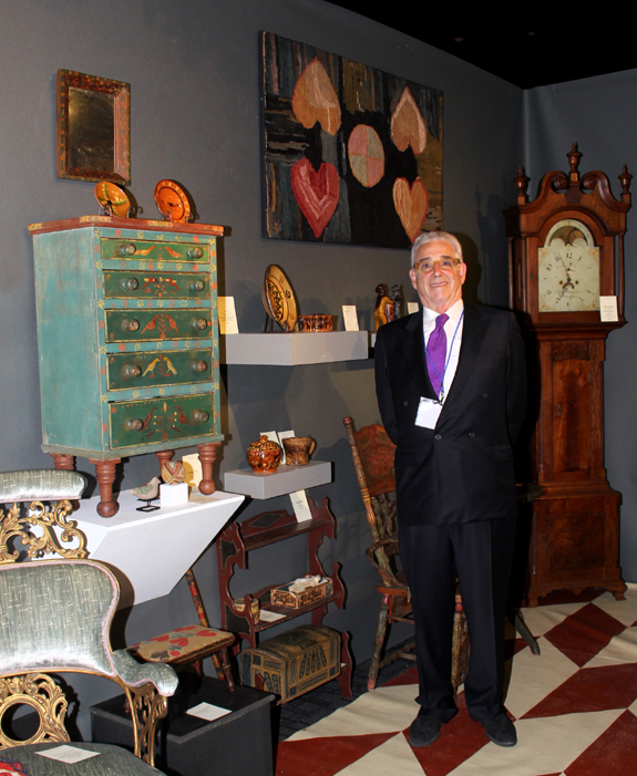 Maine dealer Jim Glazer with a miniature Mahantango chest, left.