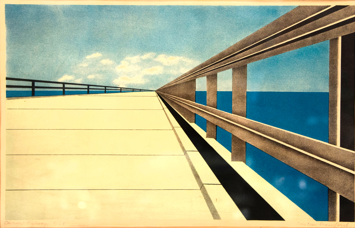 """Overseas Highway"" by Ralston Crawford (1906–1978), signed color lithograph,<br>#4 from an edition of 24, sheet size 12½ by 18 inches, estate of Natalie Rafferty,<br>$ 10,200 ($ 6/10,000)."