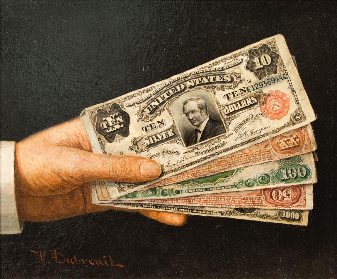 """Hand Over the Money"" by Victor Dubreuil (1846–1946), oil on canvas,<br>10 by 12¼ inches, with Berry Hill Galleries' label, estate of Natalie Rafferty,<br>$ 25,200 ($ 4/8,000)."