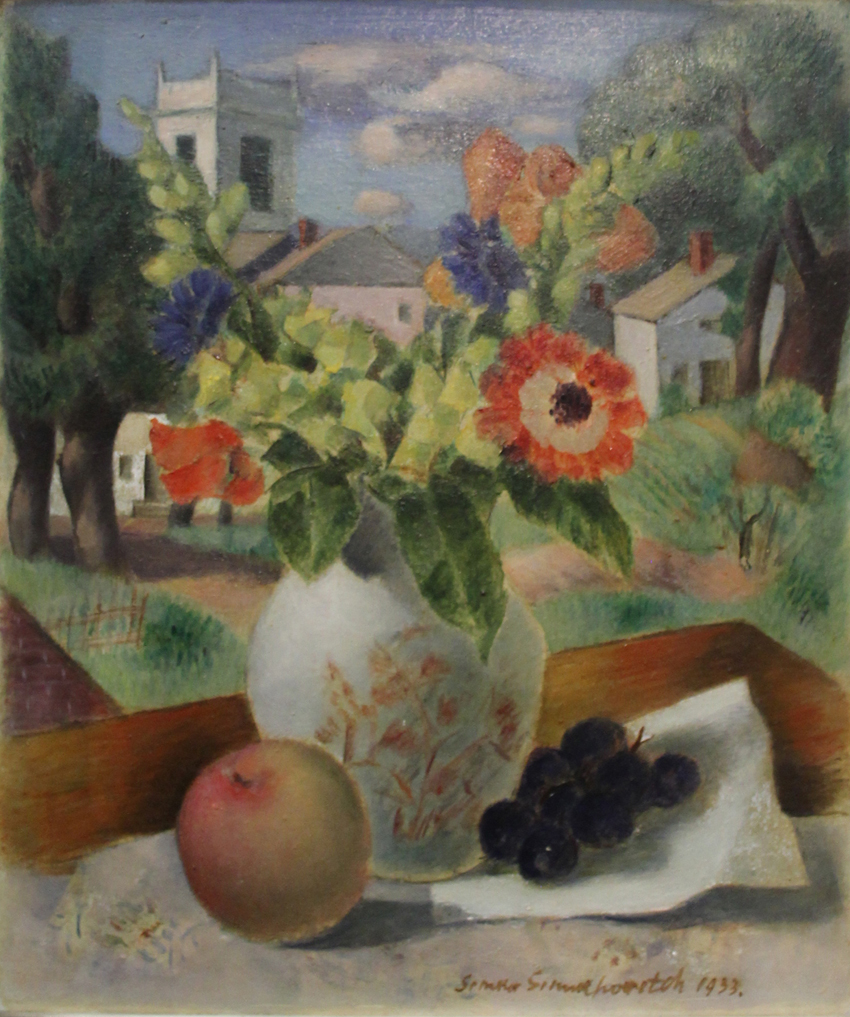Measuring 13 by 11 inches, this 1933 oil on artist's board still life by the Russian-born Connecticut artist Simka Simkhovitch (1893–1949)<br>was a nice buy at $ 540.