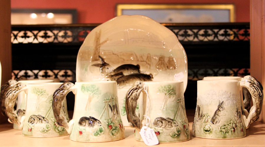 J. Gallagher Antiques has good customers in the D.C. area for this distinctive, circa 1900 majolica decorated with bunnies. The French ware is stamped with the name of retailer Higgins & Seiter, New York City.