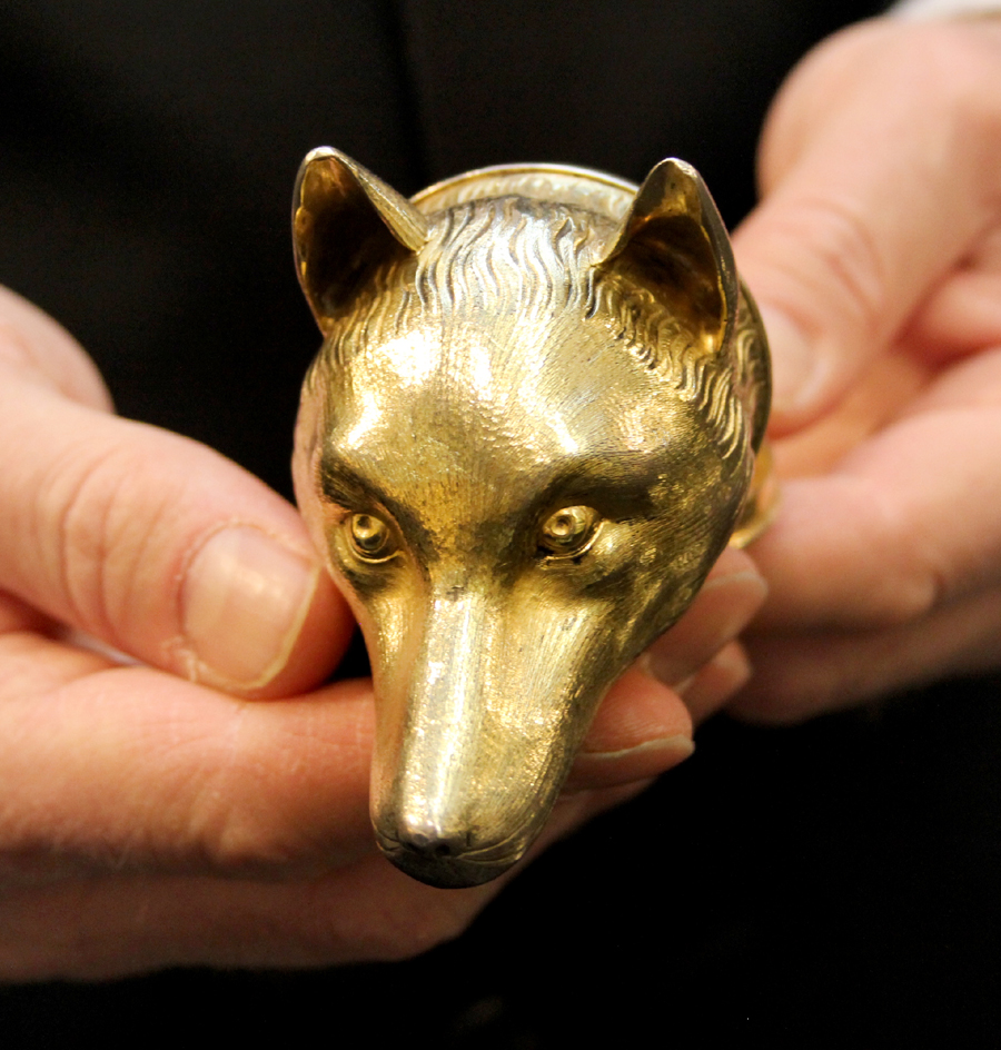 Colonel Thornton's favorite beagle, Merryman, is engraved on the interior of this silver-gilt snuffbox shaped like a fox's head. Thornton presented the box to Major Wheatley in 1809. Robert Lloyd, New York City.