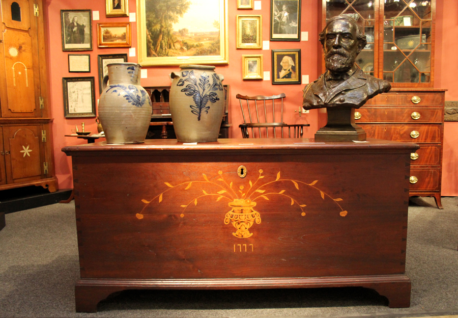 Western Maryland dower chest inlaid with the date 1777; Richmond, Va., pitcher attributed to John Peter Schermerhorn, circa 1820;  B.C. Milburn, Alexandria, Va., storage jar, circa 1840; and a bronze portrait bust of General Robert E. Lee by Edwin E. Codman, Gorham Foundry, Providence, R.I., 1910.  Sumpter Priddy III, Alexandria, Va.
