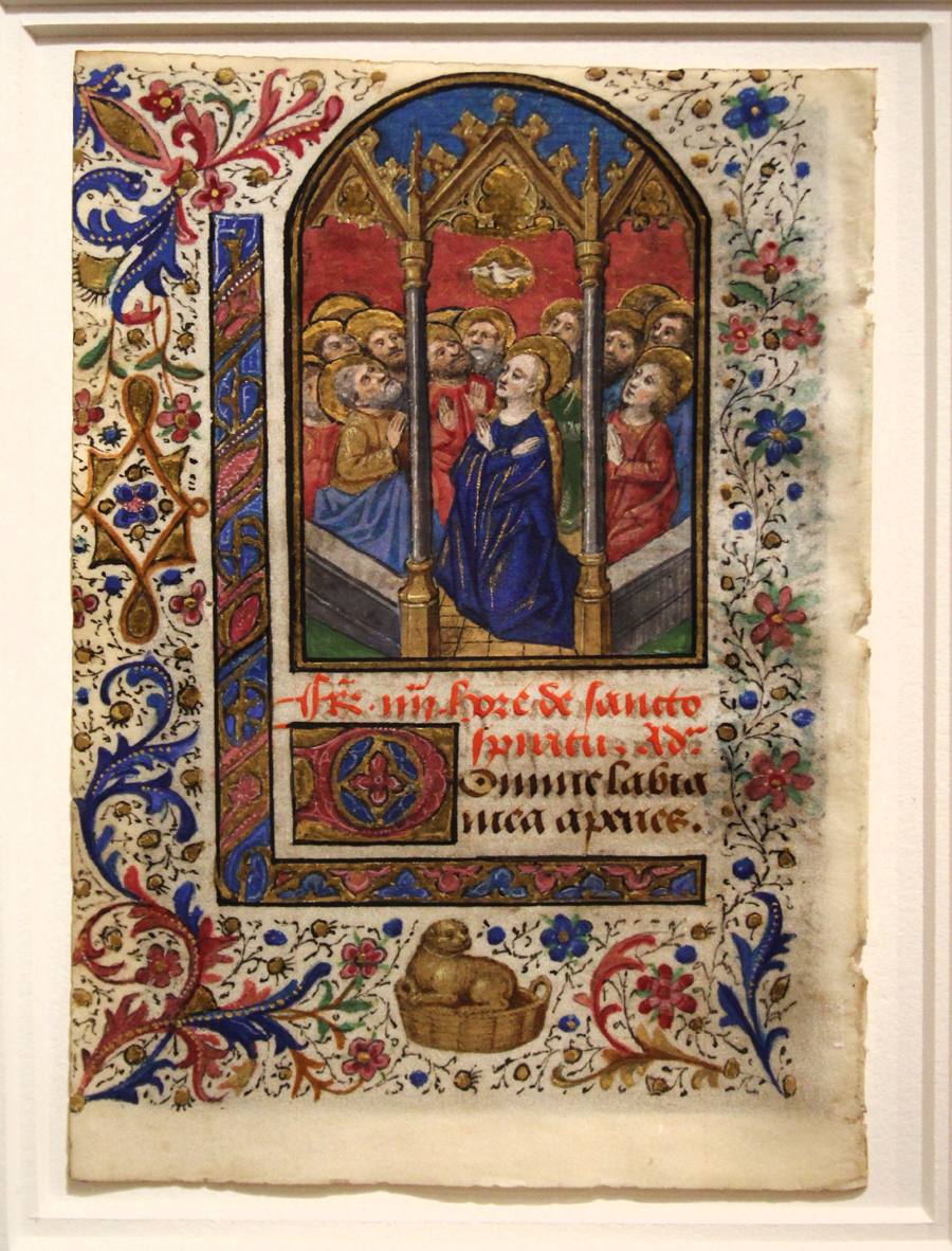 """The Pentecost,"" from a manuscript Book of Hours, northern France, possibly Brittany, circa 1450–60. Charles Edwin Puckett, Akron, Ohio."