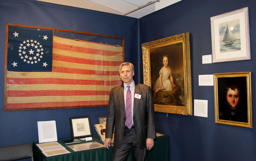 Frederick, Md., dealer James L. Kochan  with a dated 1861 34-star flag and Alfred Jacob Miller's arresting portrait of Miss Harriet Early, 1852, daughter of Baltimore merchant, entrepreneur and Miller patron John D. Early.