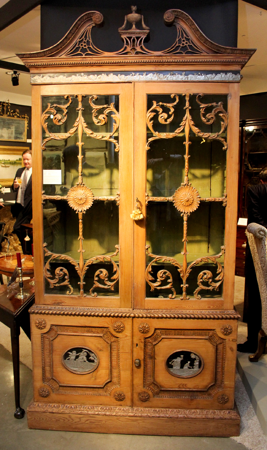 George III bookcase in the manner of Robert Adam, G. Sergeant Antiques, Woodbury, Conn.