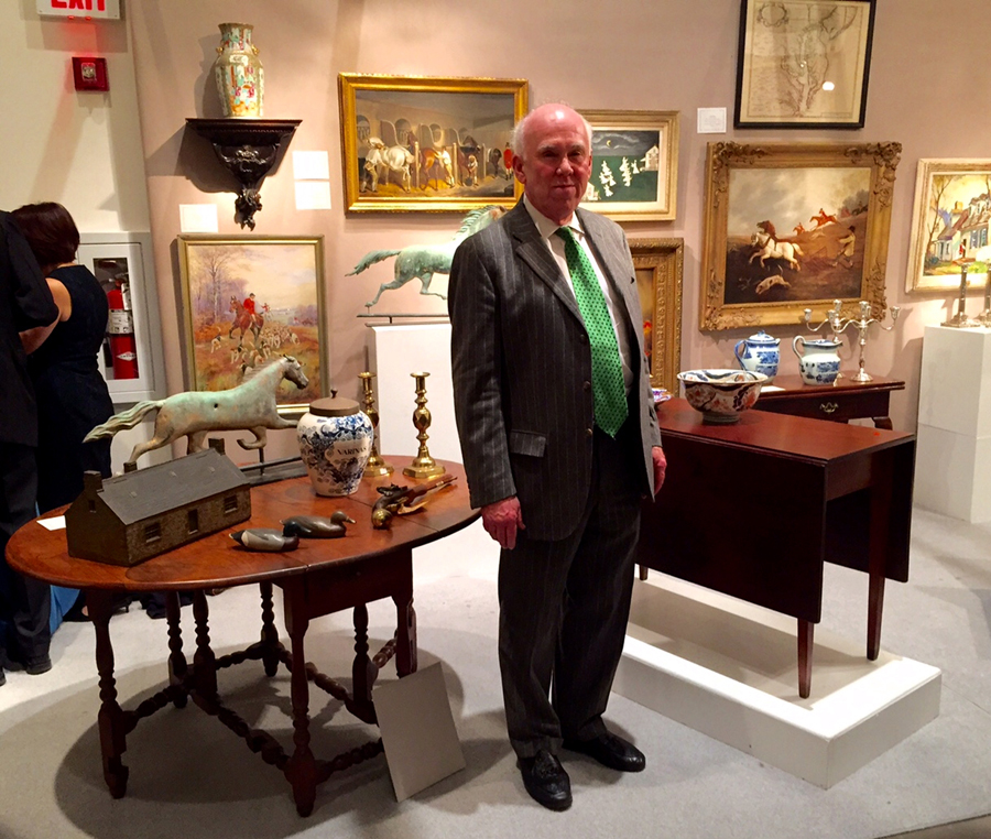 Delaware dealer Jim Kilvington returned after an absence of several years. The Eighteenth Century William and Mary dining table, left, is from Philadelphia or further south and was formerly in the collection of Dr James L. Marvel of Lewes, Del.