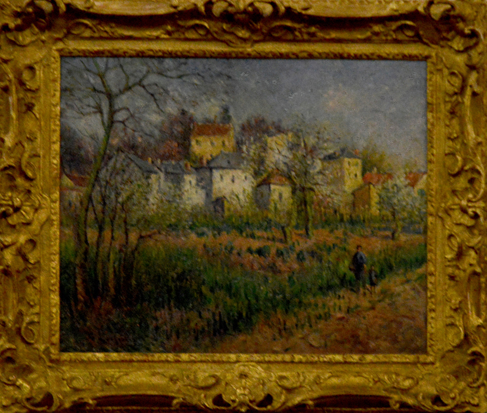 "French artist Gustave Loiseau's ""Pontoise, le Coteau de l'Ermitage,"" oil on canvas, was on offer in the low six figures at Gladwell & Patterson."