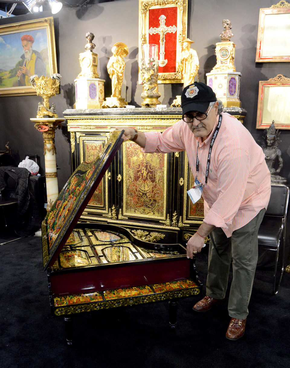 New York City-based Solomon Treasure Director Mory Talasazan<br>shows off an interesting piece with lots of storage that on first glance<br>resembles a miniature piano.