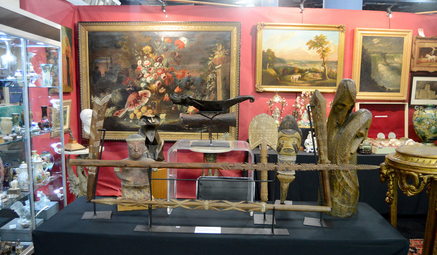 A rare late Nineteenth Century collection of carved Samoan weapons,<br>some retaining their original lime inlays, were on offer at Coliseum Antiques,<br>Los Alamitos, Calif.