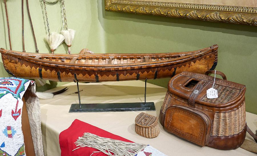An extraordinary birch bark model canoe and creel were on offer<br>from Cayuse Western Americana, Jackson Hole, Wyo.