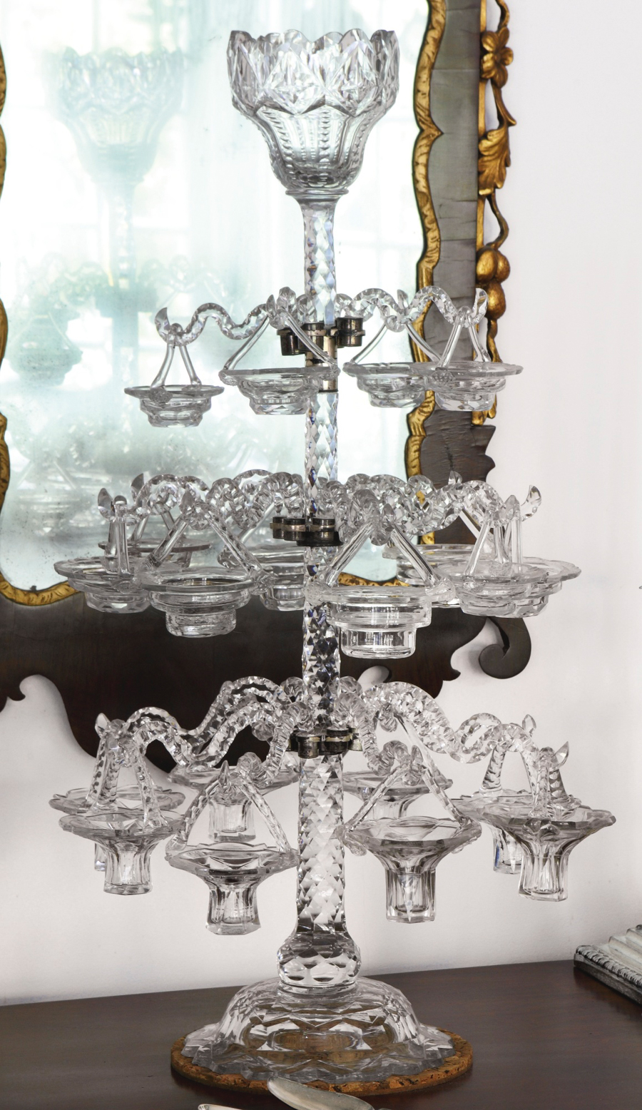 Another rare item, this 26-inch-tall glass epergne, $ 87,500 ($ 70/90,000), is English and dates to the fourth quarter of the Eighteenth Century. With a Montreal history, it was formerly in the collection of Saidye Bronfman, matriarch of the Canadian family associated with the distiller Seagram's. Two baskets are modern replacements.