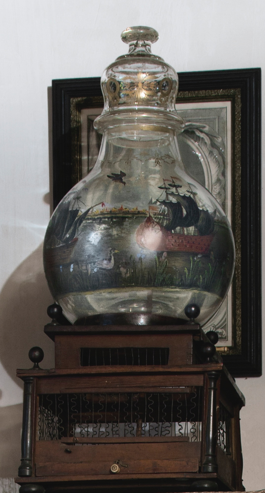 Seasoned collectors with an intellectual bent, the Schorsches were drawn to rare, interesting pieces. One example was this early Nineteenth Century Dutch paint-decorated glass fishbowl and fruitwood birdcage, $ 60,000 ($ 20/30,000) measuring 27½ inches tall.