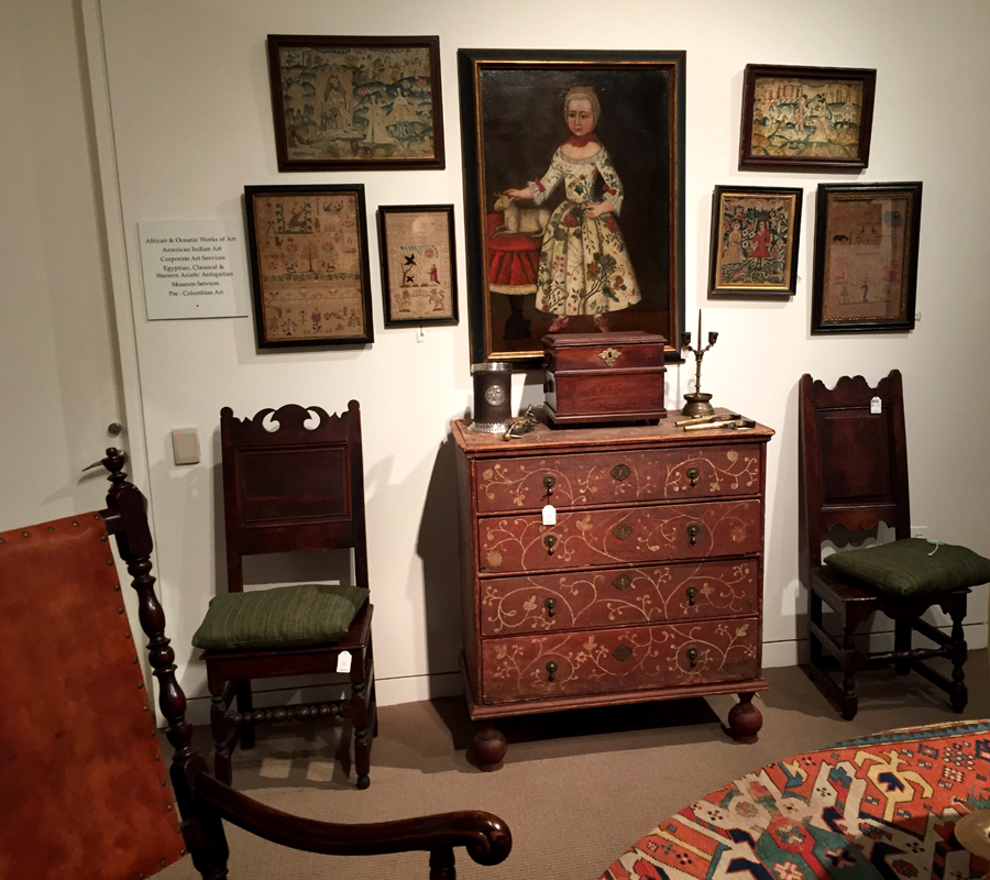 Sotheby's displayed the collection room by room, much as the Schorsches lived with it. Auctioned by Northeast in 2001 as part of the Monahan collection, the circa 1730 painted chest, $ 50,000 ($ 25/50,000), is related to a rare group from Taunton, Mass. Arrayed on the painted chest, an English valuables chest, $ 2,750; a silver-mounted blackjack, $ 1,500; a brass double-socket candlestick, $ 6,000; and a pair of English engraved flintlock pistols, $ 4,000. Above, the inscribed and dated 1761 and 1763 portrait of Margaretha Sigelin, $ 68,750 ($ 15/30,000). Left and right are Charles II needlework pictures, $ 4,375 and $ 7,500, and William and Mary side chairs, $ 5,250 and $ 750.
