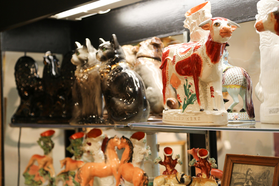 An entire menagerie of Staffordshire animals was offered<br>by Zane Moss Antiques, Sharon, Conn.