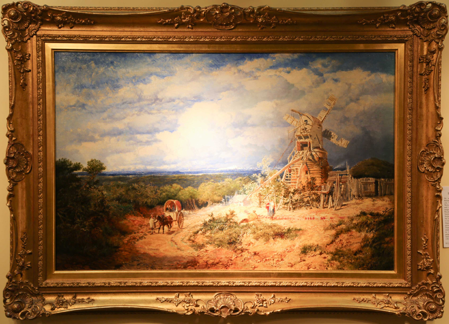 An Edmund John Niemann oil on canvas depicting an active and richly<br>detailed country scene was brought by David Brooker, Woodbury, Conn.