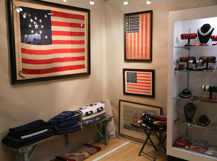 Flags with varying star counts lined the walls of Michele Fox, Weston, Conn.