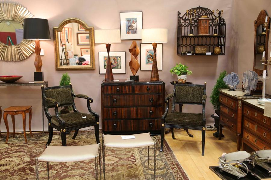 Adorn Antiques, New York City, brought an elegant selection<br>of Twentieth Century decorative arts.