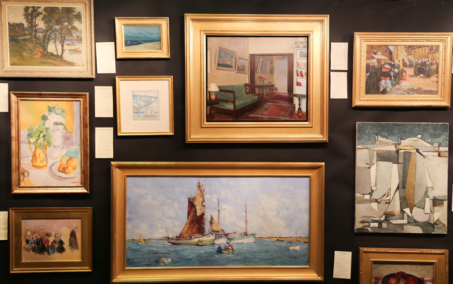 A mix of works by French artists lined the walls at Solomon Suchard, Shaker Heights, Ohio, including pieces by Edmund Ceria, Jean Lagru, Jean Gobaille, Renee Carpentier and Alfred Philippe Roll, among others.