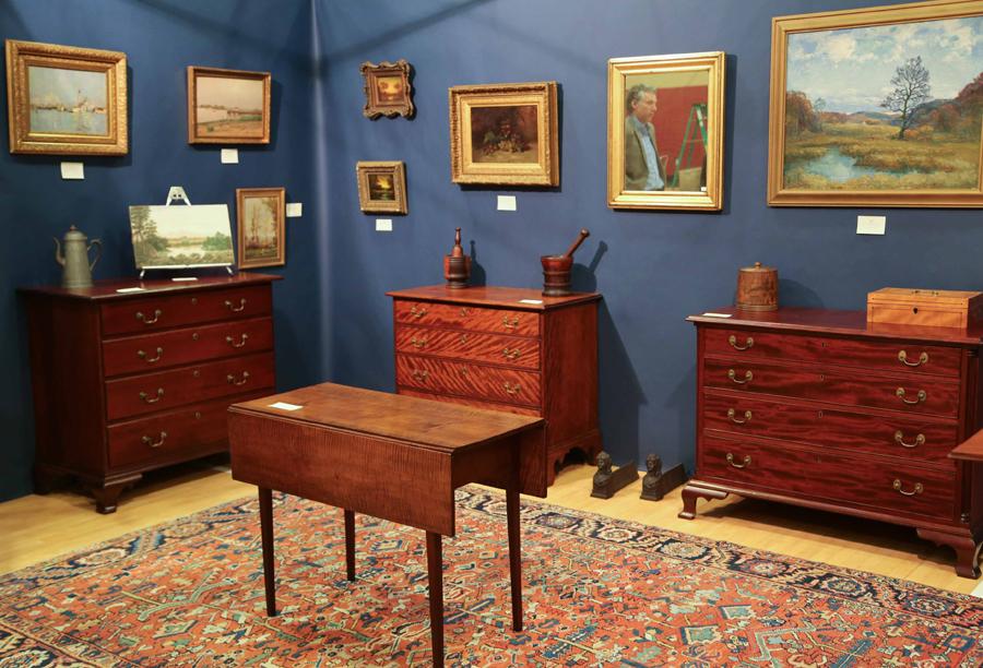 Fine wood grained American furniture and fine art were shown<br>at Martin J. Ferrick Antiques, Lincolnville, Maine.