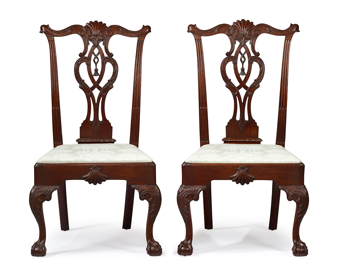 Chippendale Tassel Back Armchairs.