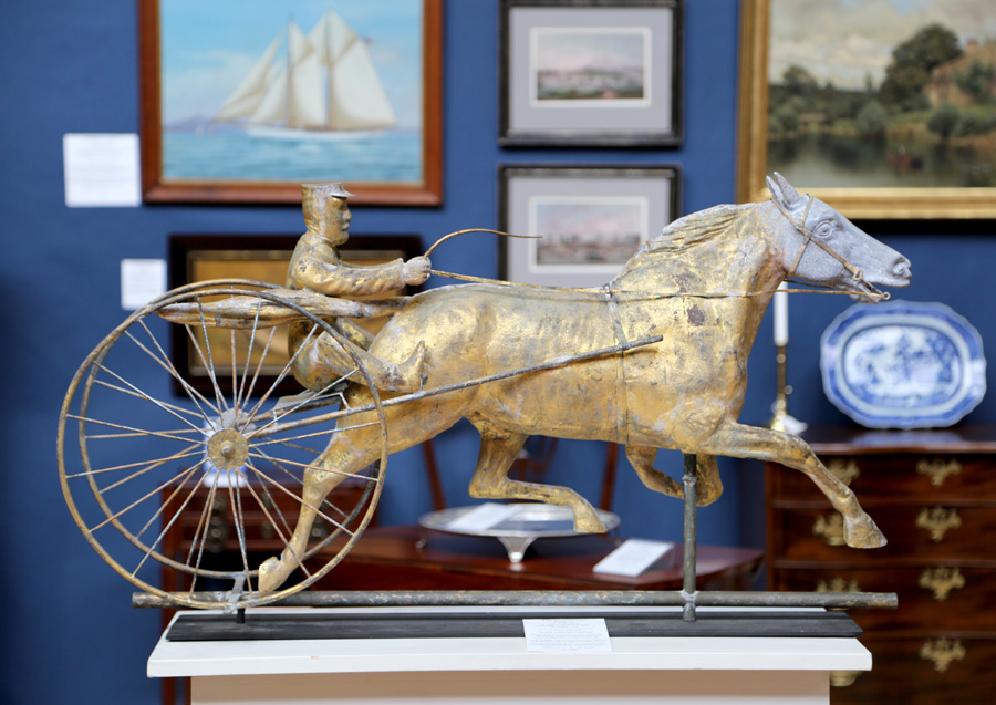 A Fiske harness horse weathervane was front and center at<br>The Hanebergs Antiques based in East Lyme, Conn.