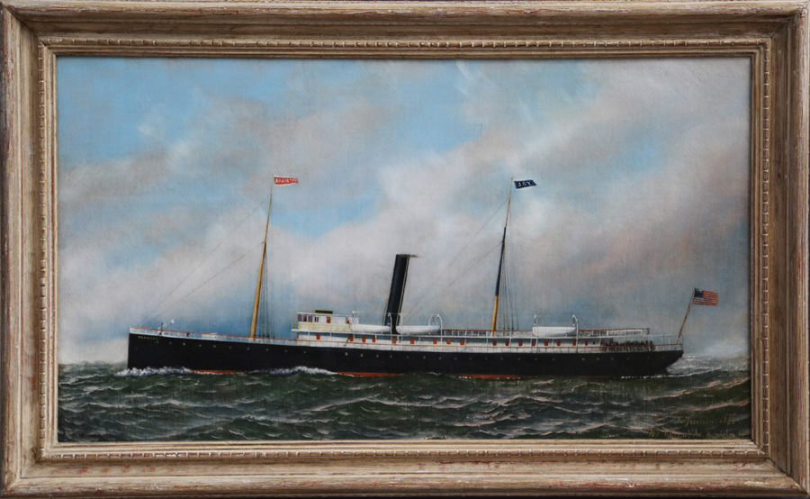 A fine Antonio Jacobsen oil on canvas depicting the USS <i>Arkansas</i>,<br>1881, from The Hanebergs Antiques, East Lyme, Conn.