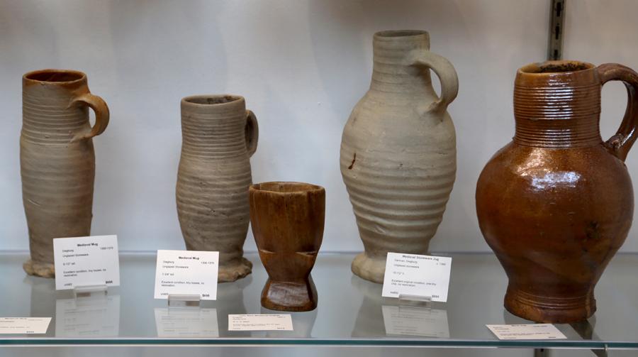 Medieval vessels adorned the cases of Fiske & Freeman, Ipswich, Mass.