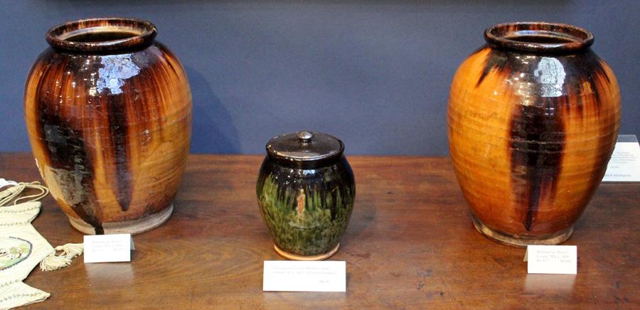 Three handsome specimens of circa 1800–10 Bristol County, Mass.,<br>redware at Samuel Herrup Antiques, Sheffield, Mass.