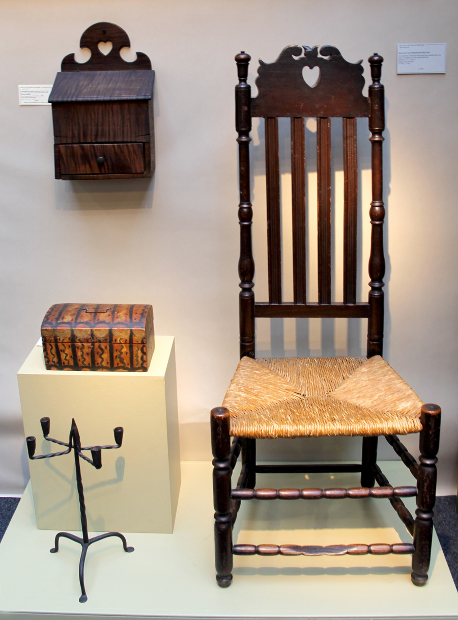 An exceptional heart and crown, banister back side chair from Stratford, Conn., circa 1725–45, was a highlight at Elliott and Grace Snyder, South Egremont, Mass.