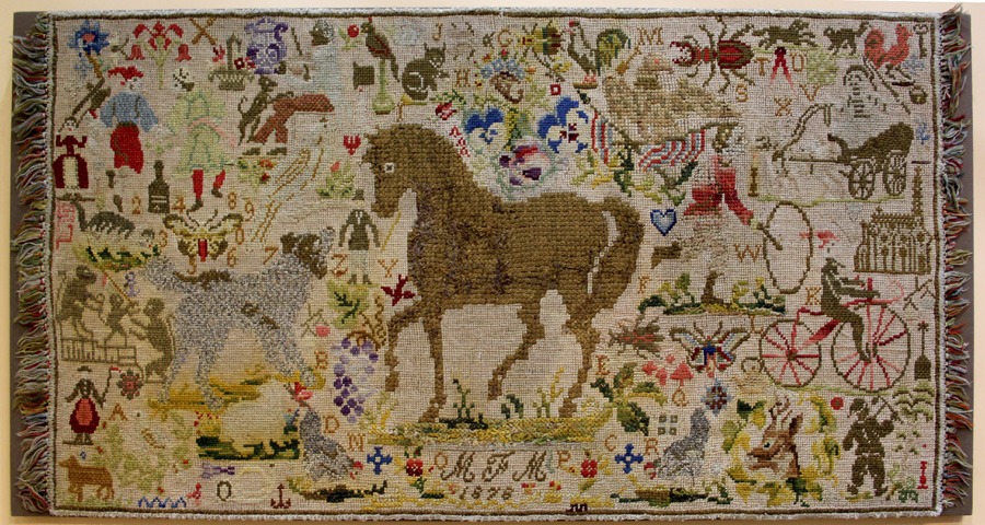 Needlework rug dated 1878 at Lisa S. McAllister, Clear Spring, Md.